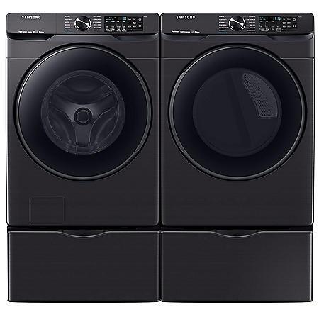 Samsung 5.0 cu. ft. Smart Front Load Washer with Super Speed & 7.5 cu. ft. Smart Gas Dryer with Steam Sanitize+ on Pedestal