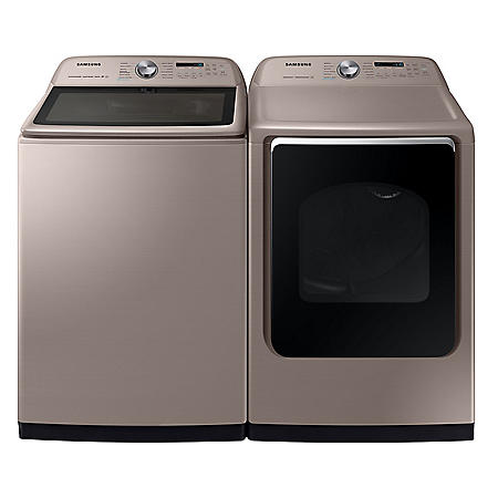 Samsung 5.4 cu. ft.  Top Load Washer with Super Speed & 7.4 cu. ft. Gas Dryer with Steam Sanitize+