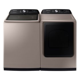 Samsung 5.0 cu. ft. Top Load Washer with Active WaterJet & 7.4 cu. ft. Gas Dryer with Sensor Dry
