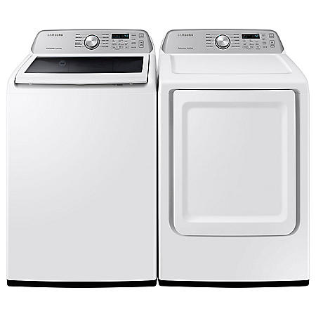 Samsung 4.5 cu .ft. Capacity Top Load Washer with Active WaterJet & 7.4 cu. ft. Gas Dryer with Sensor Dry
