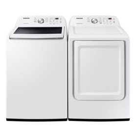 Samsung 4.5 cu. ft. Capacity Top Load Washer with Vibration Reduction Technology+ & 7.2 cu. ft. Gas Dryer