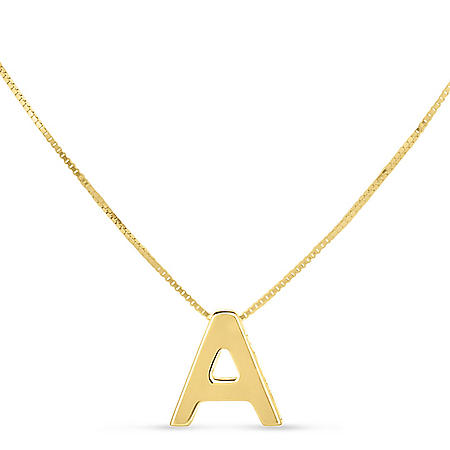 14K Gold Block Initial Necklace