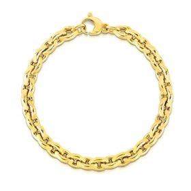 Italian 14K Yellow Gold Alternating Link Bracelet