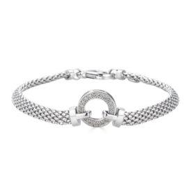 0.12 CT. T.W. Diamond Circle Bracelet in Italian Sterling Silver