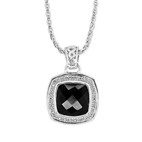Sterling Silver Treated Onyx and 0.12 CT. T.W. Diamond Pendant