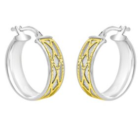 Sterling Silver and 14K Italian Yellow Gold Caged Hoop Earrings