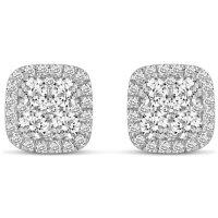 1.00 CT. T.W. Cushion Shaped Diamond Earrings in 14K Gold