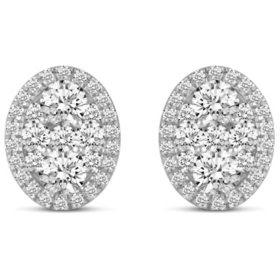 0.50 CT. T.W. Oval Shape Diamond Earrings in 14K Gold