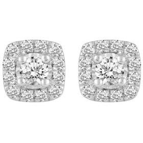 1.00 CT. T.W. Grand Cushion Shaped Diamond Earrings Set in 14K Gold