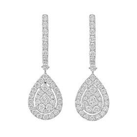 1.0 CT. T.W. Pear Shaped Diamond Halo Dangle Earrings in 14 Karat White Gold