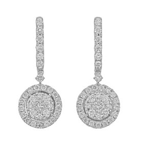 1.0 CT. T.W. Round Shaped Diamond Halo Dangle Earrings in 14 Karat White Gold
