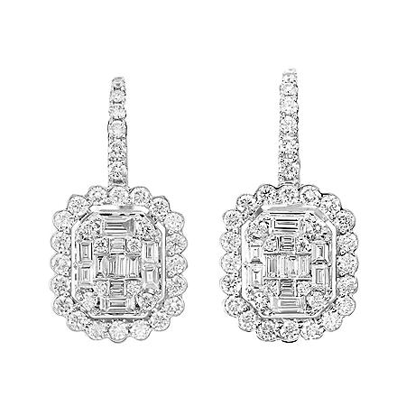 1.5 CT. T.W. Round and Baguette Diamond Halo Dangle Earrings in 14 Karat White Gold