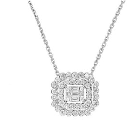 0.50 CT. T.W. Round and Baguette Diamond Double Halo Pendant in 14 Karat White Gold