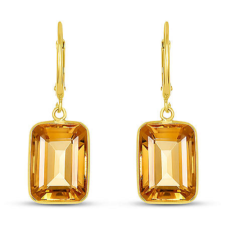 Citrine Emerald Shaped Dangle Earrings in 14 Karat Yellow Gold