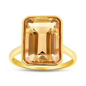 Citrine Emerald Shaped Ring in 14 Karat Yellow Gold