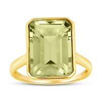 Prasiolite Emerald Shaped Ring in 14 Karat Yellow Gold