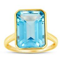Sky Blue Topaz Emerald Shaped Ring in 14 Karat Yellow Gold