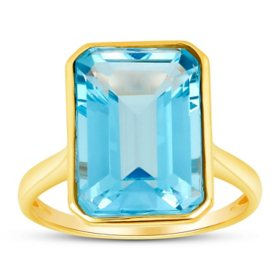 Sky Blue Topaz Emerald Shaped Ring in 14 Karat Yellow Gold