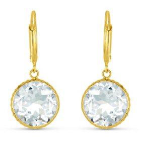 White Topaz 12MM Round Gemstone Dangle Earrings in 14 Karat Yellow Gold