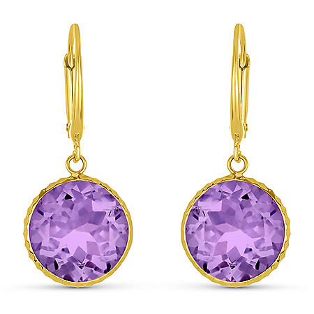 Amethyst 12MM Round Gemstone Dangle Earrings in 14 Karat Yellow Gold
