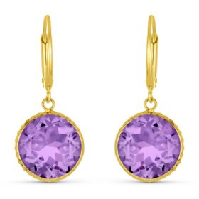 Amethyst 12MM Round Gemstone Dangle Earrings in 14 Karat Yellow Gold