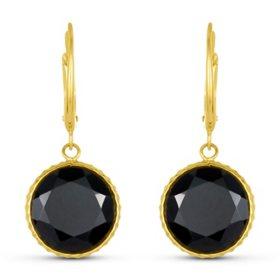 Black Onyx 12MM Round Gemstone Dangle Earrings in 14 Karat Yellow Gold