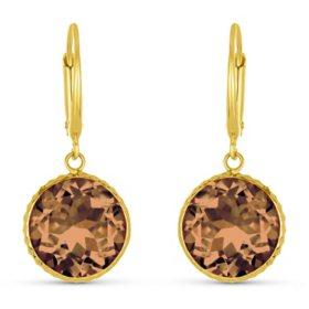 Smokey Quartz 12MM Round Gemstone Dangle Earrings in 14 Karat Yellow Gold