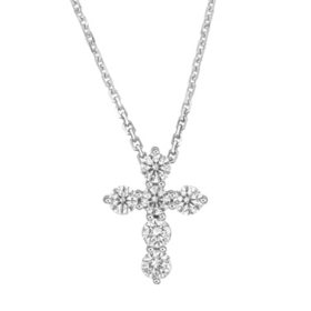 0.50 CT. T.W. Round Diamond Cross Pendant in 14 Karat White Gold