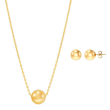 10MM Bead Pendant and Earrings Set in 14K Yellow Gold