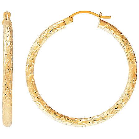 3x35MM Round Tube Hoop Crystal Cut Earrings in 14K Yellow Gold