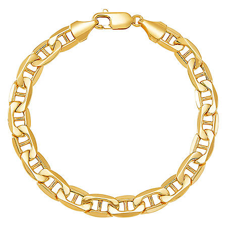 """8MM Gauge Air Solid Marine Link Chain Bracelet in 14k Yellow Gold, 8.5"""""""