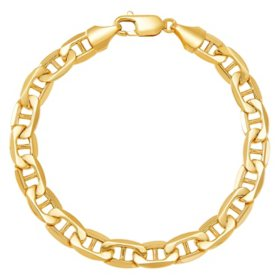 8MM Gauge Air Solid Marine Link Chain Bracelet in 14k Yellow Gold, 8.5""
