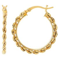 25MM Tube with Hollow Rope Hoop Earrings in 14K Yellow Gold