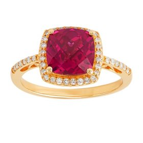 Cushion Cut Created Ruby Ring with Diamonds in 14K Yellow Gold