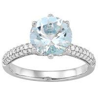9.0MM Round Cut Aquamarine with Diamonds Ring in 14K White Gold