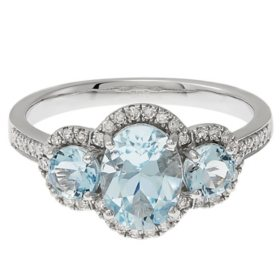8X6MM Oval Aquamarine Ring with Diamonds in 14K White Gold