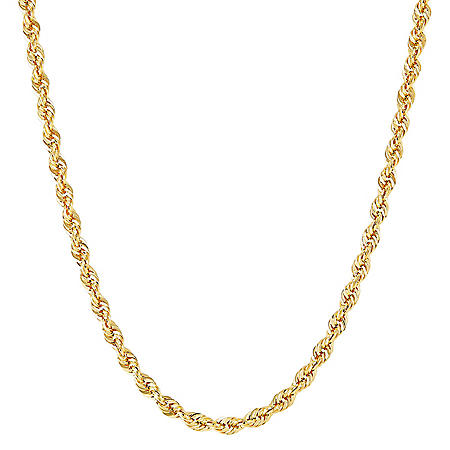 """24"""" Hollow Glitter Rope Chain in 14K Yellow Gold"""