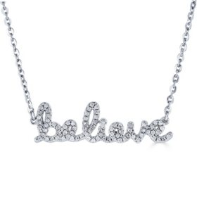 "Sterling Silver and 0.15 CT. T.W. Diamond ""BELIEVE"" Necklace"