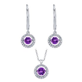 Sterling Silver Dancing Geniune Amethyst and Lab Created White Sapphire Pendant and Earring Set