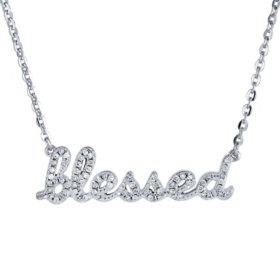 "Sterling Silver and 0.14 CT. T.W. Diamond ""BLESSED"" Necklace"