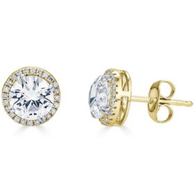 14K Gold Lab Created White Sapphires and 0.14 CT. T.W. Diamond Halo Stud Earrings