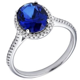 Sterling Silver Lab Created Blue Sapphire and 0.16 CT. T.W. Diamond Ring