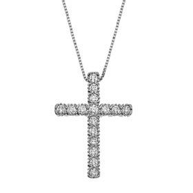 0.71 CT. T.W. Diamond Cross Pendant in 14K Gold