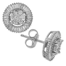 0.46 CT. T.W. Diamond Round/Baguette Earrings in 14K Gold