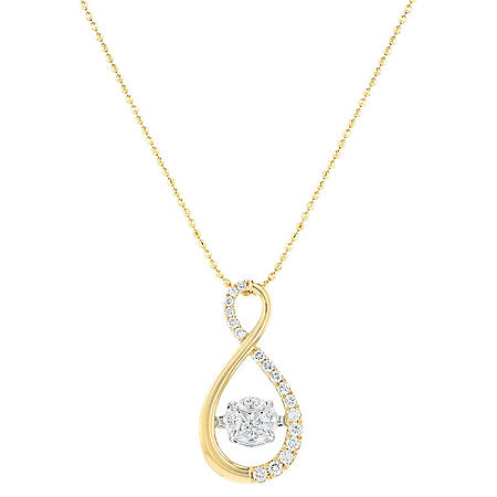S Collection Two-Tone 1/2 CT. T.W. Dancing Diamond Pendant in 14K Gold