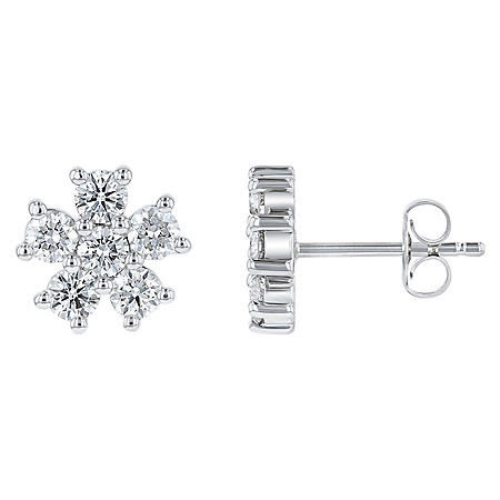 S Collection 1 CT. T.W. Diamond Flower Stud Earrings in 14K White Gold