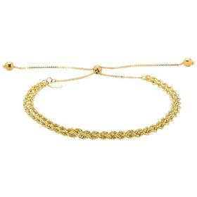 14K Yellow Gold Kissing Heart Bolo Bracelet