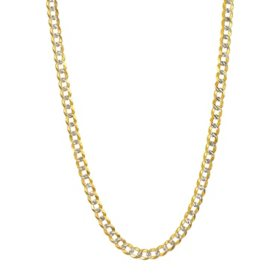 3.65MM Solid Curb Chain in 14K Two Tone Gold
