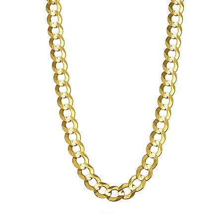 7MM Solid Curb Chain in 14K Yellow Gold