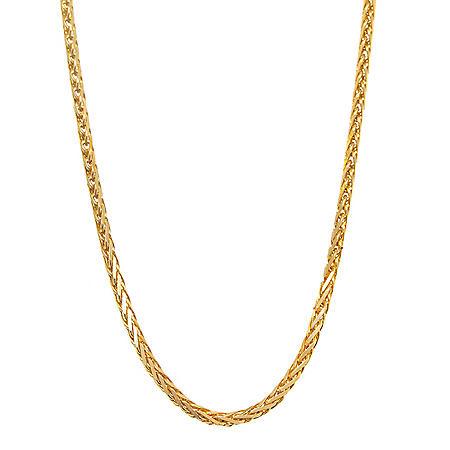 14K Yellow Gold Diamond Cut Wheat Chain